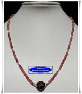 1858. zierliche Rhodochrosit-Kette mit Murano-Glasperle