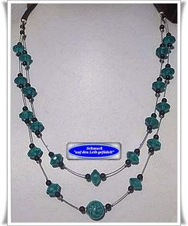 1017. 2-reihige Kette mit Muranoglas-Perle