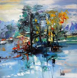 """Turquoise avant l'orage"" - 50x50"