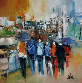"""""""Glissons sous la pluie"""" - 50x50"""