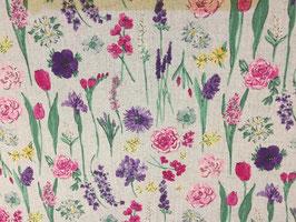 Bunte Blumenwiese - Canvas Cosmo fabrics Japan