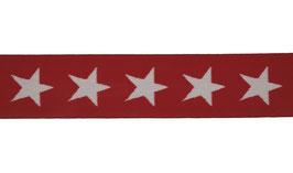 Elastisches Band, Gummiband mit Sternen, 40 mm weich - rot/weiß