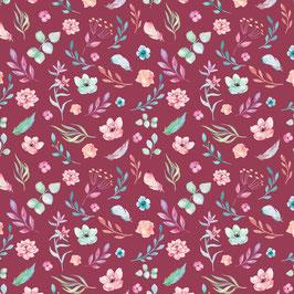 A magical time Coordinate 3 Blumen und Federn - Baumwollstoff Devonstone