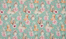 Boho Waldfreunde Tiere und Blumen - Jersey Digitaldruck
