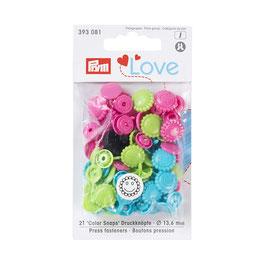 Color Snaps Druckknöpfe Blume gemischt türkis/grün/pink - 21 Stück - Prym Love