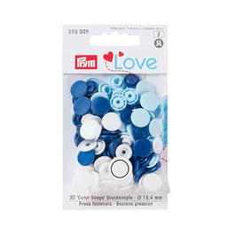 Color Snaps Druckknöpfe gemischt blau/weiß/hellblau - 30 Stück - Prym Love