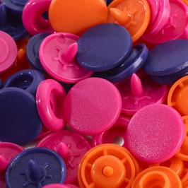 Color Snaps Druckknöpfe gemischt orange/pink/violett - 30 Stück - Prym Love