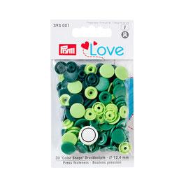 Color Snaps Druckknöpfe gemischt grün - 30 Stück - Prym Love