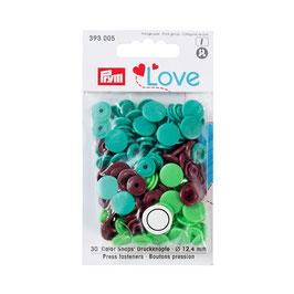 Color Snaps Druckknöpfe gemischt grün/hellgrün/braun - 30 Stück - Prym Love