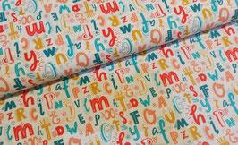 Buchstaben bunt - Baumwollstoff