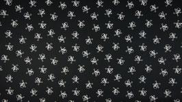 Skulls & bones groß Totenköpfe schwarz/weiß - Baumwollstoff