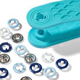 Jersey-Druckknöpfe 8 mm gemischt blau/hellblau/weiß - 21 Stück - Prym Love