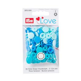 Color Snaps Druckknöpfe gemischt blau - 30 Stück - Prym Love