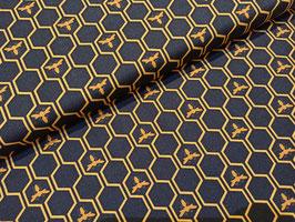 Queen Bee 3 Bienen auf Bienenwaben dunkelblau/gelb - Baumwollstoff Devonstone