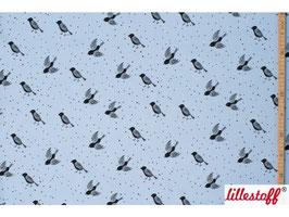 Birds and dots, blue - Biosweat Lillestoff