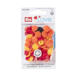 Color Snaps Druckknöpfe Blume gemischt gelb/rot/orange - 21 Stück - Prym Love