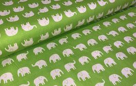 Elefanten weiß auf hellgrün - Oxfordgewebe/Baumwollstoff Cocoland