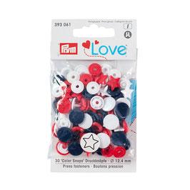 Color Snaps Druckknöpfe Stern gemischt rot/weiß/marine - 30 Stück - Prym Love