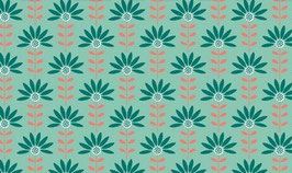 Graphic Flower mint - beschichtete Baumwolle