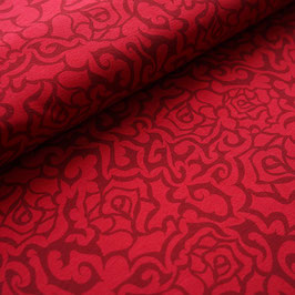 Gothic roses kirsche rot - Biojersey Stoffonkel