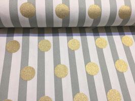 Streifen mit goldfarbenen Punkten - Oxfordgewebe Cosmo fabrics