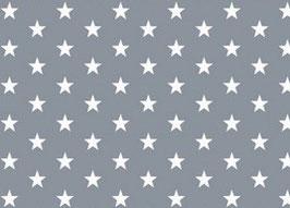 Sterne grau/weiß - beschichtete Baumwolle