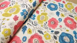 Blumen floral beige - Lightweight Canvas Cosmo fabrics