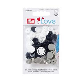 Color Snaps Druckknöpfe gemischt marine/grau/weiß - 30 Stück - Prym Love