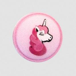 Einhorn-Knopf rosa 18 mm - Öse
