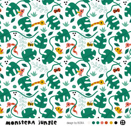 Monstera jungle - Biojersey Lillestoff
