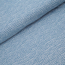 Dotted line beach house blue - Biojersey Stoffonkel