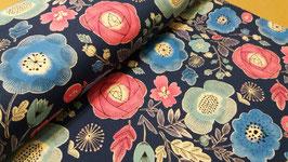 Blumen floral dunkelblau/navy - Lightweight Canvas Cosmo fabrics