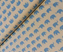 Elefanten hellblau auf ecru - Oxfordgewebe/Baumwollstoff Cocoland