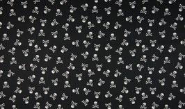 Skulls & bones klein Totenköpfe schwarz/weiß - Baumwollstoff