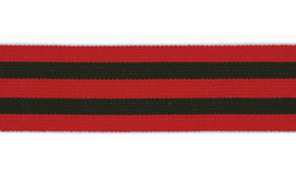 Gummiband mit Streifen, 40 mm weich - schwarz/rot