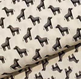Zebra schwarz auf weiß - Musselin