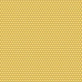 Queen Bee 5 Bienenwaben gelb - Baumwollstoff Devonstone