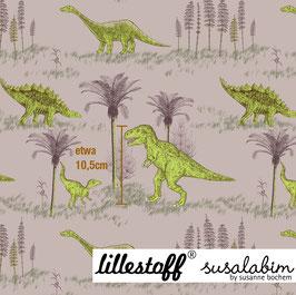 Dinowelt beigegrün - Biojersey Lillestoff