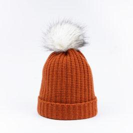 Art. 7 Cappello Maglia Perlata 100% Cashmere con Pon Pon Sintetico Arancio