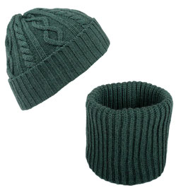 Set Scaldacollo e Cappello Aran Con Risvolto Lana Merinos Verde Bottiglia