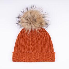 Art. 6 Cappello Maglia Perlata Con Pon-Pon in Pelliccia 100% Cashmere Arancio