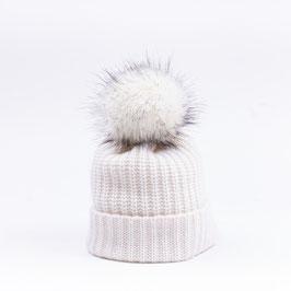 Art. 7 Cappello Maglia Perlata 100% Cashmere con Pon Pon Sintetico Bianco