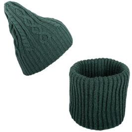 Set Scaldacollo e Cappello Aran  Lana Merinos Verde Bottiglia