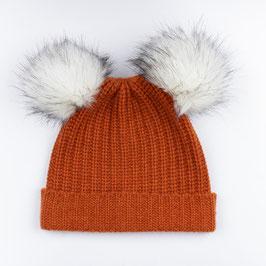 Art. 8 Cappello Maglia Perlata 100% Cashmere con Doppio Pon Pon Sintetico Arancio