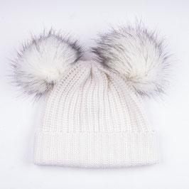 Art. 8 Cappello Maglia Perlata 100% Cashmere con Doppio Pon Pon Sintetico Bianco