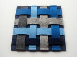 Wollfilzuntersetzer, 20 x 20cm,  blau-grau