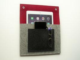 Doppeltasche für iPad und Handy, 100% Wollfilz