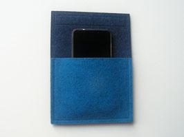 Handytasche mit Klettband, Wandtasche für Camper, 100% Wollfilz, blau