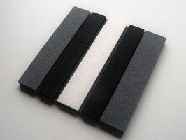 Superdicker Wollfilz Untersetzer, 20x20cm, 1cm dick! schwarz-weiß-grau