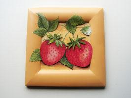 Erdbeere 21 x 21cm, orange-rot